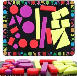 Colorful Geometric Shaped Magnet 22 Piece Set with Board