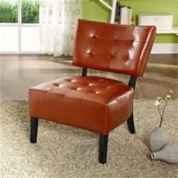 Madrid Leatherette Accent Armless Chair in Mahogany Red