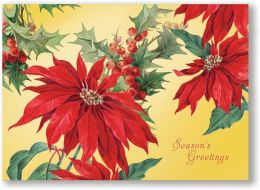 POINSETTIA GOLD FOIL CHRISTMAS BOXED CARD