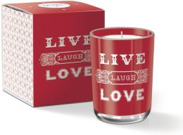 Large Live Laugh Love Typography Red Glass Candle, 8.2 oz