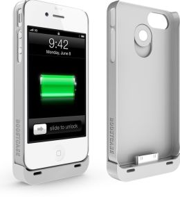 Boostcase Hybrid Snap-On Case & Detachable Extended Battery for iPhone 4/4S - White
