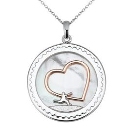 Arjang & Co PS-8010-SP Sterling Silver All Heart Round Pendant