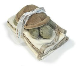 Cloud B Satin Trim Spill Cloth & Rattle Gift Set - Baby Turtle