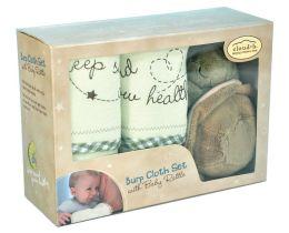 Bamboo Burp Cloth Set with Baby Rattle - Turtle