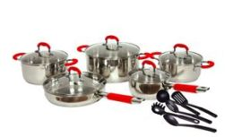 American Trading House Sc-Ss048R Gourmet Chef 15 Piece Stainless Steel Cookware Set