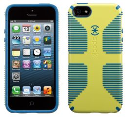 Speck CandyShell Grip Case for iPhone 5 in Lemongrass Yellow and Harbor Blue