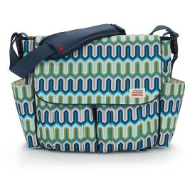 Jonathon Adler Dash Messenger Diaper Bag - Chevron Blue