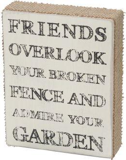 Friends Garden Burlap Box Sign 7x5.5