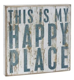 My Happy Place White Box Sign 12