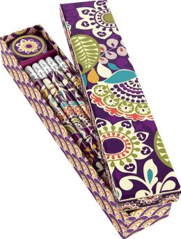 Vera Bradley Plum Crazy Pencil Box - 10 Pencils and Sharpener