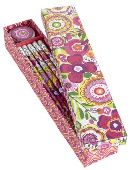 Vera Bradley Clementine Pencil Box - 10 Pencils and Sharpener