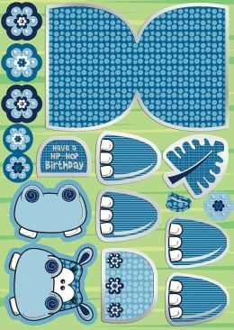 Wobbler Die-Cut Punch-Out Card 2-Sheet Pack-Harry Blue/White