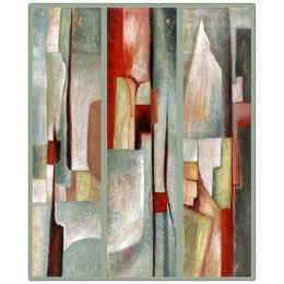 Abstract Triptych By Joval-Framed 35X47 Canvas Art