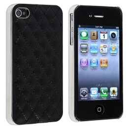 BasAcc - Snap-on Case compatible with Apple® iPhone ® 4 / 4S , Black Leather with Silver Side