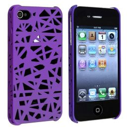 BasAcc - Snap-on Case compatible with Apple® iPhone ® 4 / 4S , Dark Purple Bird Nest Rear