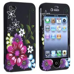 BasAcc - Snap-on Rubber Coated Case Compatible with Apple® iPhone ® 4 / 4S, Rose Red / Purple Flower