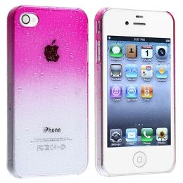 BasAcc - Snap-on Case compatible with Apple® iPhone® 4 / 4S , Clear Hot Pink Waterdrop