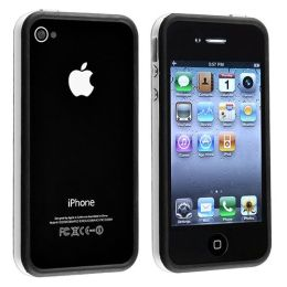 BasAcc - Bumper TPU Case with Aluminum Button compatible with Apple® iPhone® 4 / 4S, White / Black