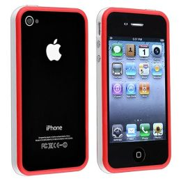 BasAcc - Bumper TPU Case with Aluminum Button compatible with Apple® iPhone® 4 / 4S, White / Red