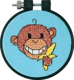 Learn-A-Craft Monkey Stamped Cross Stitch Kit-3