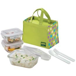 Lock&Lock BOROSEALIII, Borosilicate Glass Lunch Box Set, Green Color Dot Pattern Bag