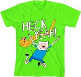 Adventure Time Heck Yeah Adult Green T-Shirt L/XL