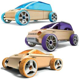 Automoblox Mini 3-Pack Orange Convertible, Purple Sports Utility, Blue Sport Van