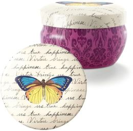 Script Butterfly Small Round Candle Tin (3.75 x 3.75 x 2.5)