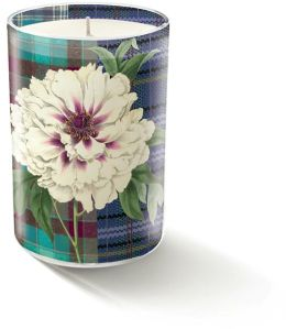Plaid Peony Glass Small Candle (3 x 2 x 2 )