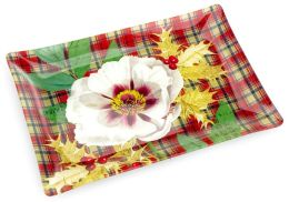 Rectangle Plaid Rose Transferware Glass (Tray 9