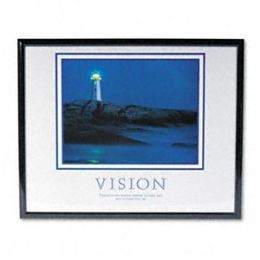 Advantus 78018 Vision Lighthouse Framed Motivational Print 31-1/2w x 25-1/2h