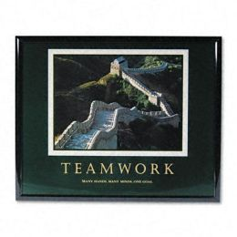 Advantus 78025 Teamwork/Great Wall Of China Framed Motivational Print 31-1/2w x 25-1/2h