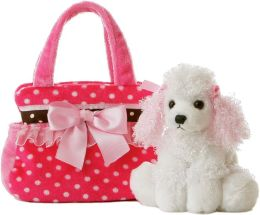 Fancy Pink Polka Dot Pet Carrier w/ Poodle