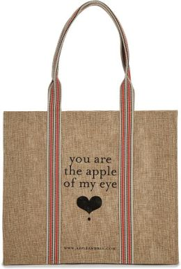 Apple of My Eye Jute Tote