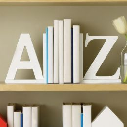 White Wood A to Z Bookends - Set of 2