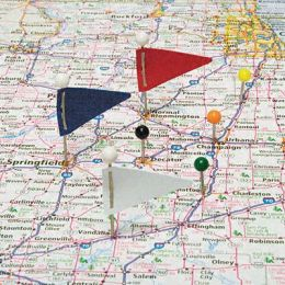 Advantus MF375 Plastic Head Triangular Map Flags Steel 1 in.Point Assorted Colors 75 per Box