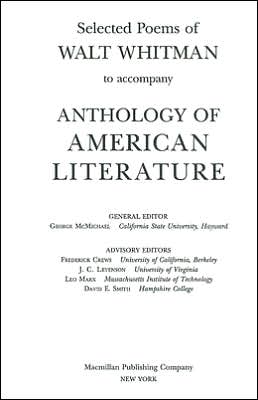 Selected Poems of Walt Whitman to Anthology of American Literature