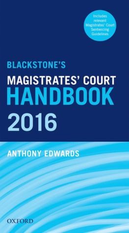 Blackstone's Magistrates' Court Handbook 2016
