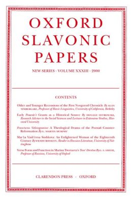 Oxford Slavonic Papers 2000