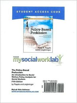 MySocialWorkLab -- Standalone Access Card -- for The Policy-Based Profession