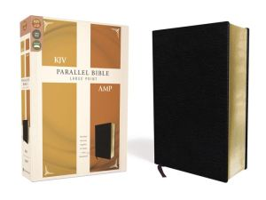 Book KJV, Amplified, Parallel Bible, Large Print, Bonded Leather, Black, Red Letter Edition: Two Bible Versions Together for Study and Comparison