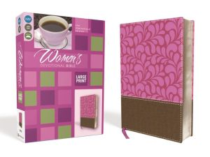 NIV, Women's Devotional Bible, Large Print, Imitation Leather, Brown/Pink
