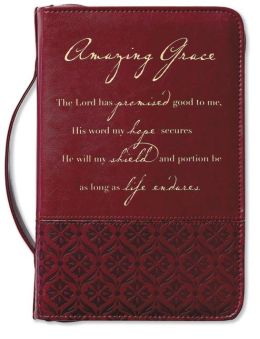 Amazing Grace Italian Duo-Tone Rich Red Bible Cover