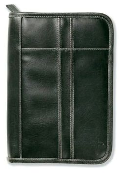 Distressed Leather-Look Black with Stitching Accent LG