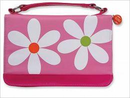 Microfiber Daisy Pink Zipper Pocket Lg