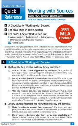 Work with Sources Using MLA: A Bedford/St. Martin's Quick Reference