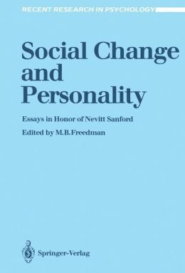Social Change and Personality: Essays in Honor of Nevitt Sanford