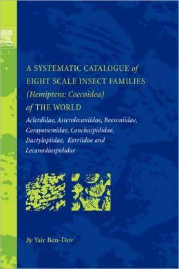 A Systematic Catalogue of Eight Scale Insect Families (Hemiptera: Coccoidea) of the World: Aclerdidae, Asterolecaniidae, Beesoniidae, Carayonemidae, Conchaspididae, Dactylopiidae, Kerriidae and Lecanodiaspididae