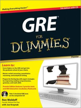 GRE For Dummies, Premier 7th Edition, with CD