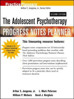 The Adolescent Psychotherapy Progress Notes Planner (Practice Planners Series)